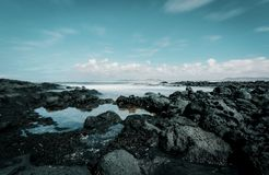 Seashore Under Blue Sky and White Clouds View Stock Photo