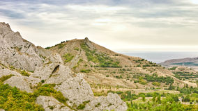 Seashore w chmurnej pogodzie, Crimea Fotografia Stock