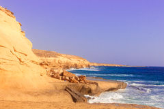 Seashore Waves and Mountain under the Sunshine in Matrouh, Egypt Stock Image