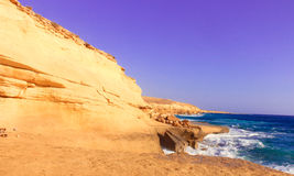Seashore Waves and Mountain under the Sunshine in Matrouh, Egypt Stock Photography