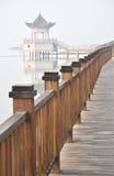 Seashore wood pavement and pavilion Royalty Free Stock Photos