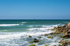 Seashore in Tel Aviv. Seashore with yaht in Tel Aviv stock image