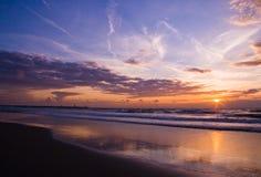 seashoresolnedgång Arkivbilder