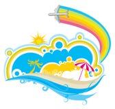 Seaside. Theme pattern design background vector illustration
