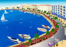 Seaside. Panoramic view of a sea front vector illustration Royalty Free Stock Photos