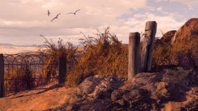 Seaside. A seascape scene with weathered wharf posts and fence on rocky coastline vector illustration
