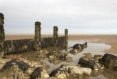 Seaside. Groynes on the beach on a winters day Stock Photo