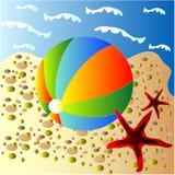Seaside. Illustration with baloon and starfish stock illustration