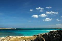 Seaside. Sea with blue sky in sardinia, Italy stock photos