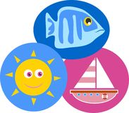 Seaside. Design featuring a fish, a summer sun and a sailing boat vector illustration