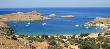 Seaside. Lindos beach in Rhodes island, Greece Stock Photo