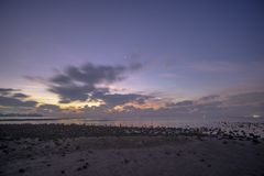 The seaside atmosphere at the early morning.First light before sunrise