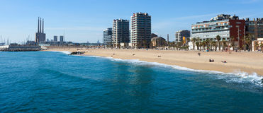 Seaside of Badalona from  sea Royalty Free Stock Photo