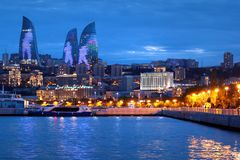 Seaside Baku Boulevard at dusk, Azerbaijan stock image