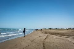 Seaside beach photo of Caspian sea in northern part of Iran. Qaem Shahr, Iran - June 2018: Seaside beach photo of Caspian sea in northern part of Iran royalty free stock photography