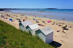 The seaside beach resort town of Lancieux on the Atlantic Ocean on the northern coast of Brittany in France Stock Image