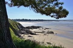 The seaside beach resort town of Lancieux on the Atlantic Ocean on the northern coast of Brittany in France Stock Images