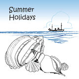 Seaside. Beach, shell, ocean, ship. Summer holiday retro background Stock Images