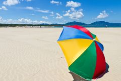 Seaside beach umbrella. This is a picture of the sea and beach umbrellas of summer I was taken in July Royalty Free Stock Photos