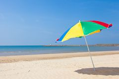 Seaside beach umbrella. This is a picture of the sea and beach umbrellas of summer I was taken in summer Royalty Free Stock Photos