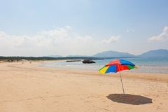 Seaside beach umbrella. This is a picture of the sea and beach umbrellas of summer I was taken in summer Stock Image