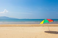 Seaside beach umbrella. This is a picture of the sea and beach umbrellas I was taken in summer Stock Photography