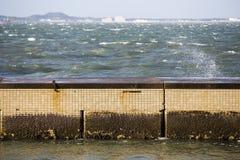 Seaside beach with walkway Stock Image