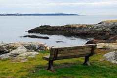 Seaside bench stock photo