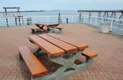 Seaside benches Royalty Free Stock Photography