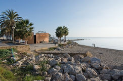 Seaside bicycling route. PALMA DE MALLORCA, BALEARIC ISLANDS, SPAIN - DECEMBER 22, 2015: Anima beach seaside restaurant and the Mediterranean on a sunny day on Stock Photography