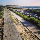 Seaside bike path in Poland stock photography