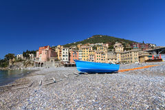 Seaside with boat in Sori, Italy. Beach in Sori, small village in Liguria, Italy Royalty Free Stock Photography