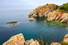 The seaside boulder landscape dalian Royalty Free Stock Image