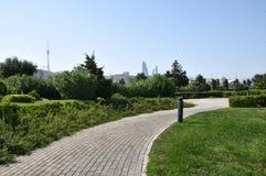 Baku. Types of boulevards on the shore of the Caspian Sea. stock photo