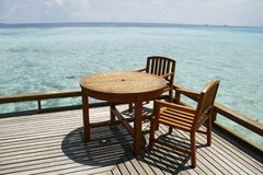 Seaside Breakfast table Stock Image