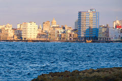 Seaside buildings along the Malecon avenue in Havana. The seaside buildings along the Malecon avenue in Havana Royalty Free Stock Photo