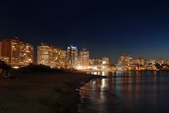 Seaside buildings at night. Punta del Este, Uruguay Royalty Free Stock Photos