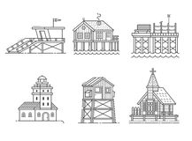 Seaside Buildings Set. Typical seaside houses and buildings set. Fishing village or town constructor with lighthouse, life guard, pier, stilted house Royalty Free Stock Photo