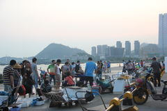 The seaside Busy market in shekou SHENZHEN CHINA AISA Royalty Free Stock Photography