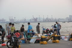 The seaside Busy market in shekou SHENZHEN CHINA AISA Stock Photography