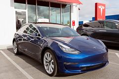 Tesla model 3 new electric car Stock Image