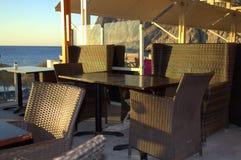 Beach cafe Kamari Santorini Stock Photos