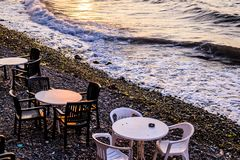 Seaside Cafe Tables Stock Photography