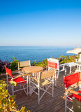 Seaside cafe terrace Stock Photos