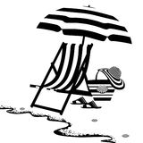 Seaside with chaise longue and umbrella. Stock Images
