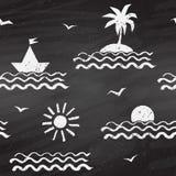 Seaside chalk drawn seamless pattern royalty free illustration