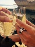Seaside cheers, wine! Stock Photos