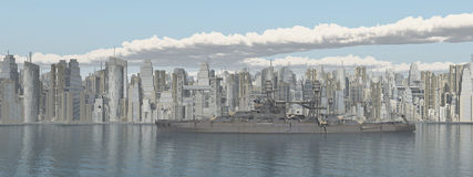 Seaside city and American warship from World War II Royalty Free Stock Photo