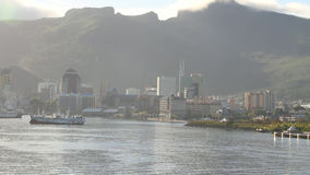 Seaside city in environment of mountains. Port Louis, Mauritius stock video