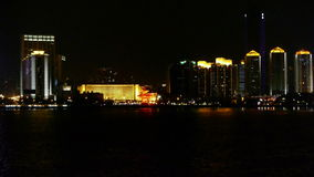 Seaside city at night,skyscrapers,metropolis,Night neon view,Hong Kong,New York. stock video footage